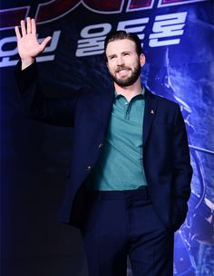 Chris Evans at the Avengers: Age of Ultron Press Conference on April 17, 2015 in Seoul, South Korea.