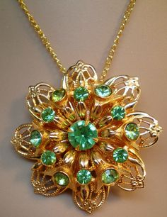 Vintage Antique Brooch 40s 50s Big Peridot 13 Large by BagsnBling, $43.00