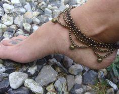 Cavigliera indiana, cavigliera zingara, cavigliera ottone bronzo, cavigliera Macrame, Boho cavigliera, braccialetto alla caviglia hippy, cavigliera festival, regalo per lei