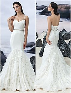 Fit & Flare Court Train Wedding Dress - Sweetheart/Spaghetti Straps Satin/Tulle