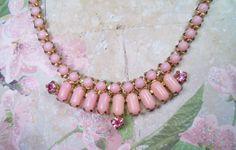 Vintage Unique Pink Milk Glass & Rhinestones Necklace $24.50