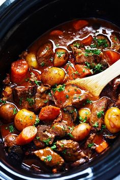 Slow Cooker Beef Bourguignon:  5 slices bacon, 3 lbs boneless beef chuck, 1 cup red cooking wine, 2 cups chicken broth, ½ cup tomato sauce, ¼ cup soy sauce, ¼ cup flour, 3 garlic cloves, 2 Tbs thyme, 5 medium carrots, 1 lb baby potatoes, 8-oz fresh mushrooms