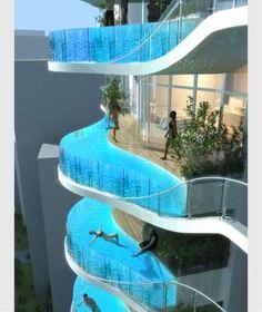 """Wie pool ist das denn? Das Hochhaus """"Bandra Ohm"""", das in Mumbai (Indien) entstehen soll, bietet auf 30 Etagen Wohnungen mit Pool-Balkonen"""