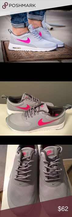 Nike Air Max Thea Sneakers Brand New Nike Air Max Thea Sneakers. Very Cool cute colors. Women's size 8.5/ 7Y available. Shoes are 100% Authentic.                                                                         ❌ Box missing top.                                                     ❌No Trades/ LOWBALLERS.                                              I don't discuss pricing via comments. Please feel free to ask additional questions. Nike Shoes Sneakers