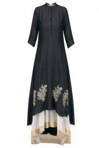 Black Embroidered Roses Double Layered Kurta #myoho #ethnic #shopnow #ppus #Happyshopping
