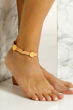 Handmade chunky leather anklet with gold plated embellishments that don't tarnish with the sun. It perfectly matches with slip-on sandals, wear it with cropped hemlines all summer long, Anklet Bracelet, Anklets, Bracelets, Embellishments, Plating, Sun, Sandals, Chic, Summer