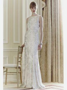 Straps Chiffon Beaded Diamonds Applique Floor-length Wedding Dress