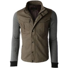 Mens Heavyweight Stand Collar Zip Up Military Jacket ($34) ❤ liked on Polyvore featuring mens and men's clothing