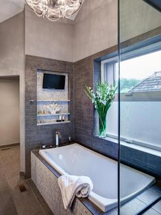Looking for Neutral Bathroom ideas? Browse Neutral Bathroom images for decor, layout, furniture, and storage inspiration from HGTV. House Design, Luxury Bathtub, Bathroom Interior, Small Bathroom, Bathtub Remodel, Tv In Bathroom, Home, Bathroom Design, Bathroom Retreat