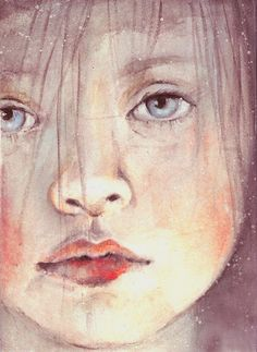 watercolor print from original pretty face blue eyes portrait. $8.00, via Etsy.