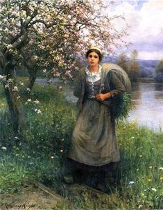 Apple Blossoms in Normandy countrywoman Daniel Ridgway Knight art for sale at Toperfect gallery. Buy the Apple Blossoms in Normandy countrywoman Daniel Ridgway Knight oil painting in Factory Price. Images Vintage, Vintage Art, Louis Aston Knight, Image Nature, Knight Art, Portraits, Oil Painting Reproductions, Paintings For Sale, Oil Paintings