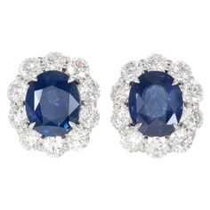 Exquisite Sapphire Diamond Earrings | From a unique collection of vintage clip-on earrings at http://www.1stdibs.com/jewelry/earrings/clip-on-earrings/