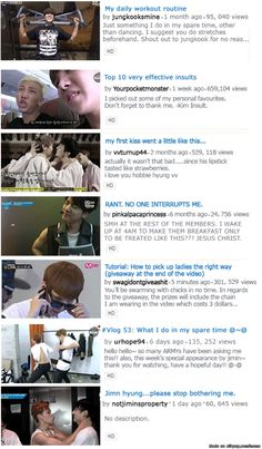 If each BTS member had a YouTube account... XD