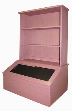 Wooden Toy Box With Bookshelf Oak