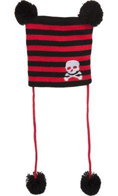 7ebae1c0274 Black   Red Stripe Skull Pom Pom Beanie