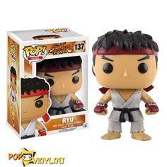 FUNKO POP STREET FIGHTER RYU WHITE HEADBAND EXCLUSIVE FREE POP PROTECTOR