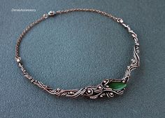 Necklace with Jade  copper necklace  unique by DorasAccessory