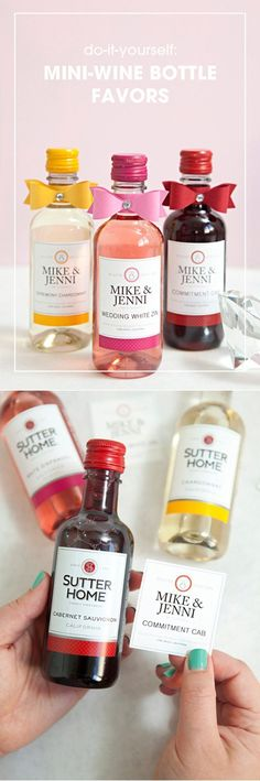 Best Classy DIY Wedding Favors | Mini Wine Bottle Favors by DIY Ready at  http://diyready.com/24-diy-wedding-favor-ideas/