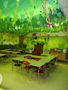 Enchanted forest theme classrooms :) Use hung green material to cast a soft green glow?