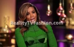 Tameka Raymond's #GreenScreen Confessional Interview Green Lace Applique Dress #AtlantaExes