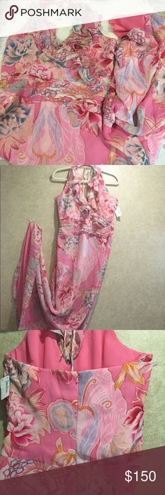 76579847aaa Kay Unger Pink Floral Silk Dress