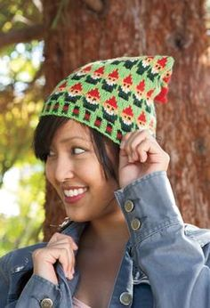 Santa's Elves Stocking Cap by Deborah Tomasello - adult and child versions! I'm thinking child size would be adorable and less daunting!  (PS How cute would socks be in this pattern!!)