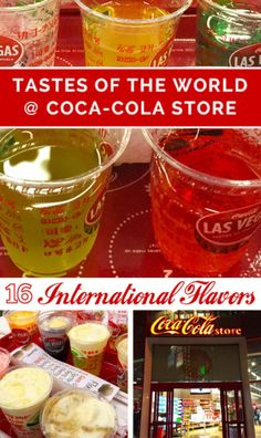 "The Coca-Cola Store in Las Vegas offers up a ""Tastes of the World"" soda sampling trays that introduces you to 16 popular sodas from around the globe."