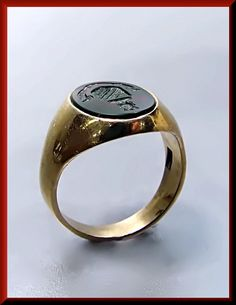 Antique Vintage Victorian Designer Tiffany and Company 14K Yellow Gold Bloodstone Men's Signet Ring