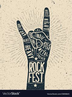 Rock festival poster rock and roll hand sign Vector Image , Musikfestival Poster, Rock And Roll, Christmas Music Playlist, Rock Sign, Rockabilly Music, Rock Hand, Rock Festivals, Music Fest, Christmas Poster