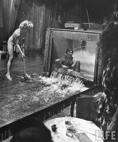 Evangeline Sylvas era una famosa stripper del Casino Royale Club de New Orleans. En sus actuaciones solía aparecer en el interior de una enorme ostra, de la que salía con sensuales movimientos que apasionaban al público. Según un reportaje de la revista Life, en 1949, disgustada por la fama de Divena, una nueva stripper del casino, que actuaba realizando escenas eróticas sumergida en el agua dentro de un tanque de plexiglás, irrumpe en medio de su actuación con un enorme hacha y de 3…