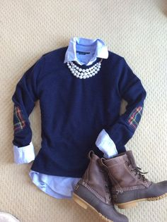 Traditions never Fade - Navy with tartan plaid elbow patches - @ Island Outfitters