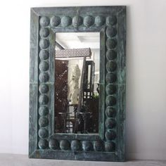 """Original Mirror made with verdigris copper from the Commodore Hotel in NYC. These mirrors add drama to any space. Price is for mirror shown, price may vary when custom built.  86""""H x 54""""W x 3""""d"""