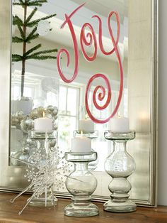 Holiday tip~ Write a holiday word or phrase on a mirror with window paint, shoe polish or even some old lipstick for a fun addition to your Christmas Decor.
