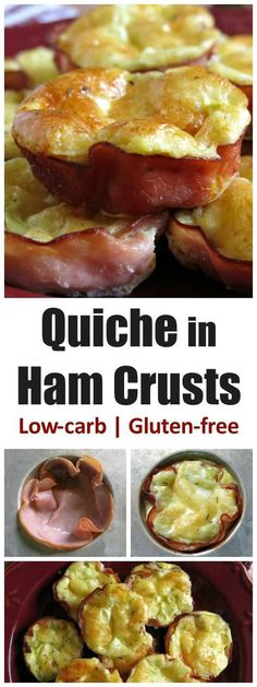 Egg and cheese in Ham Crust makes a low-carb, gluten-free breakfast. Easy to make and perfect for your favorite quiche recipe. #lowcarb #quiche #glutenfree