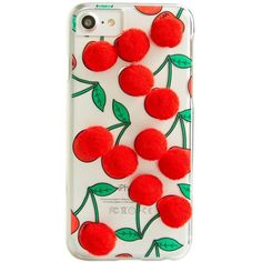 Women's Skinnydip Cherry Pom Iphone 6/7 & 6/7 Plus Case ($25) ❤ liked on Polyvore featuring accessories, tech accessories, red, iphone cover case, apple iphone case, red iphone case and iphone cases