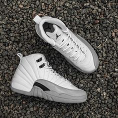 "The Air Jordan 12 Retro GS ""Wolf Grey"" is available now at kickbackzny.com."