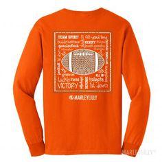 Monogrammed Game Day Long Sleeve T-Shirt in Orange! #gameday
