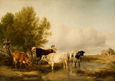 Cattle in a Stream by Thomas Sidney Cooper.