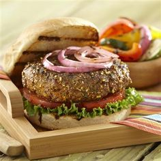 Steakhouse Onion Burgers with Grilled Potato Wedges... Seasoned Ground Beef and Potato Wedges with savory garlic and onion flavors create a tasty meal.