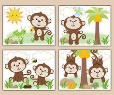 MONKEY NURSERY PRINTS Decor Wall Art Safari Animal Baby Boy Room Shower Gift Decorations Kids Bathroom Childrens Bedroom Hanging Swinging Monkeys #decampstudios