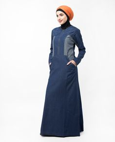 You will look cool with the inverted print and metallic zip front Jilbab. This Jilbab is perfect for new mums who wants to breastfeed Denim Abaya, Islamic Fashion, Printed Denim, Jeans Dress, Look Cool, Wardrobes, Blue Denim, Fashion Dresses, High Neck Dress