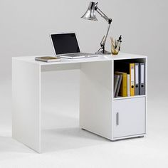 OLGA Home Office Computer Desk Finished in White with Silver Detailing Home Office Computer Desk, Home Office Space, Office Table, Home Office Decor, Computer Tables, Office Interior Design, Office Interiors, Home Decor Furniture, Office Furniture