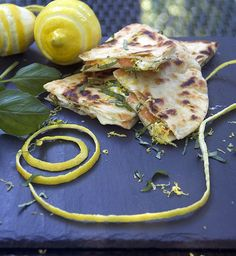 Here's a fantastic brunch recipe that's easy to prep ahead and is a huge crowd pleaser: Smoked Salmon Quesadillas with goat cheese, lemon and basil. Crisp tortillas filled with smokey salmon, creamy tangy goat cheese, lemon zest and slivered basil. Seafood Dishes, Fish And Seafood, Seafood Recipes, Cooking Recipes, I Chef, Good Food, Yummy Food, Smoked Salmon, Smoked Fish