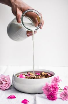 ... almond, rose and cardamom granola ...