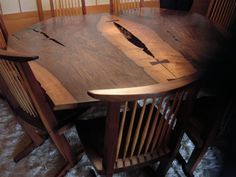 George Nakashima table and chairs Furniture Legs, Furniture Making, Modern Furniture, Furniture Design, Wood Table, A Table, Dining Table, George Nakashima, Woodworking Inspiration