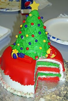 Christmas Tree Cake with Red & Green Layers!