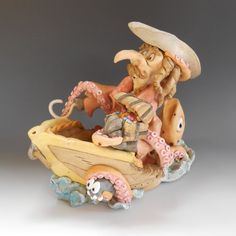 Pirate and Kraken - Ceramic Sculpture