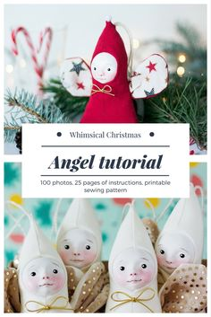 Christmas doll making tutorial, unique Christmas ornaments, Christmas sewing pattern. Stocking stuffer tutorial