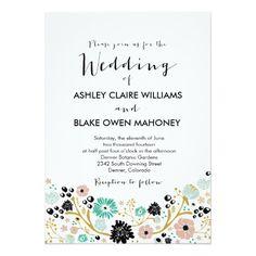 Pretty Bouquet Floral Wedding Invitation Blush
