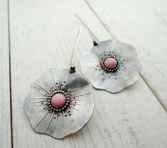Pink Poppy Earrings // sterling silver poppy by LostSparrowJewelry,